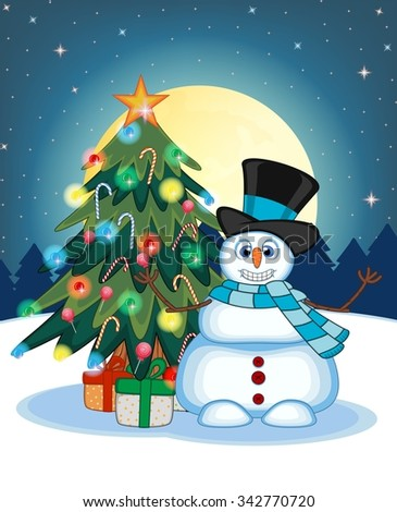 Snowman Wearing A Hat And Blue Scarf Waving His Hand With Christmas Tree And Full Moon At Night Background For Your Design Illustration - stock photo