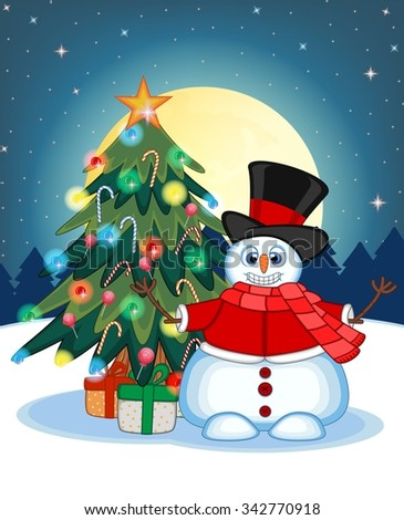 Snowman Wearing A Hat, Red Sweater And Red Scarf Waving His Hand With Christmas Tree And Full Moon At Night Background For Your Design Illustration - stock photo