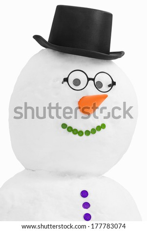 Snowman wearing top hat isolated on a white background - stock photo