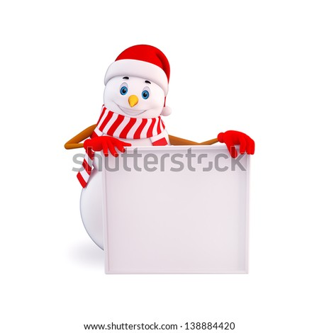 snowman with big white sign