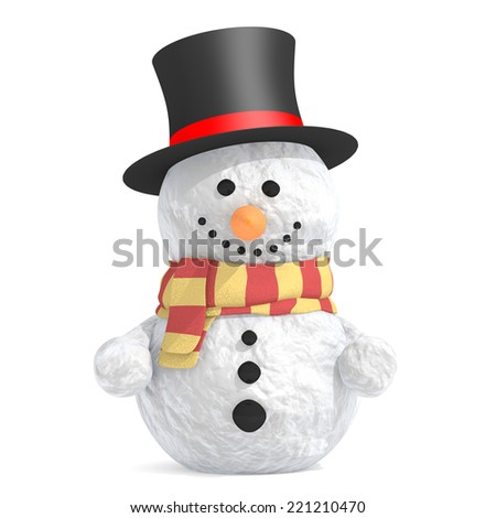 Snowman with black top hat and scarf