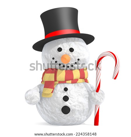 Snowman with black top hat and scarf holding candy cane in left hand