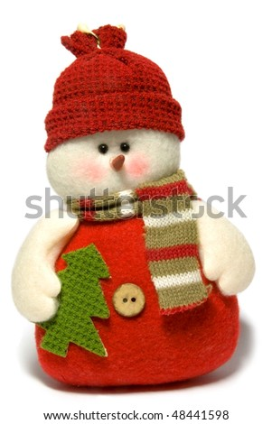 snowman with Christmas tree isolated on white background