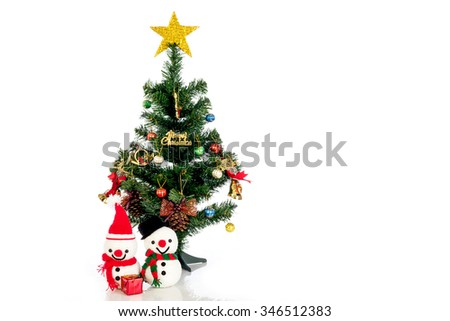 Snowman with Christmas tree on a white background.