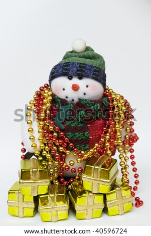 snowman with many gifts