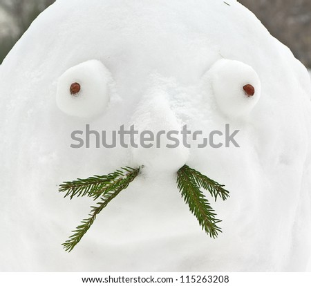 Snowman with mustache - stock photo
