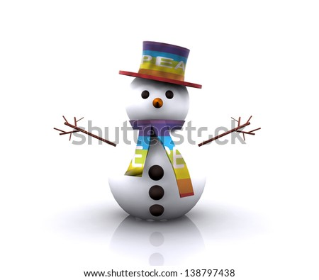 Snowman with the colors of the flag of Peace - stock photo