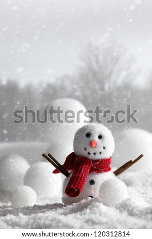 Snowman with winter snow background - stock photo