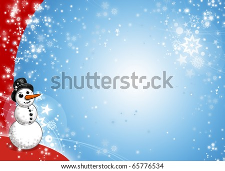 Snowman Xmas Blue and Red Card