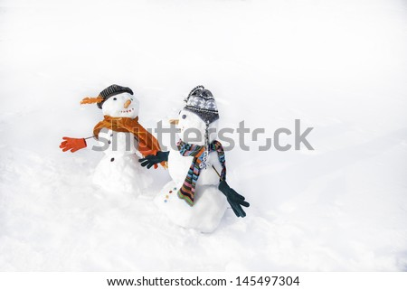 snowmen - stock photo