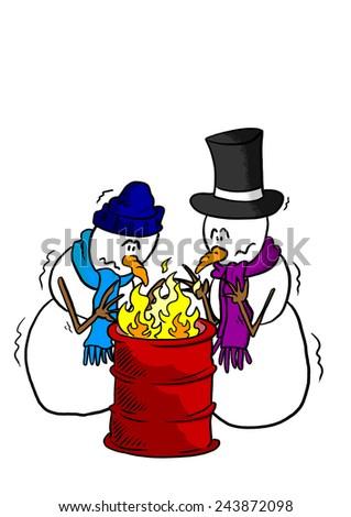 Snowmen around a fire - stock photo