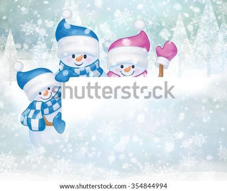 Snowmen cartoons hiding by blank, Christmas card. - stock photo