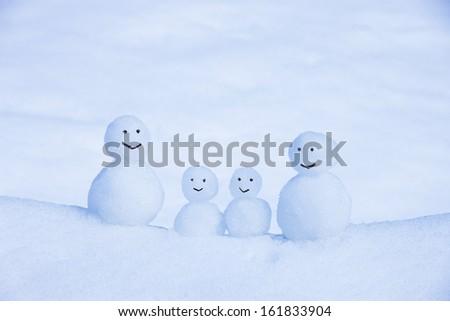 Snowmen family - stock photo