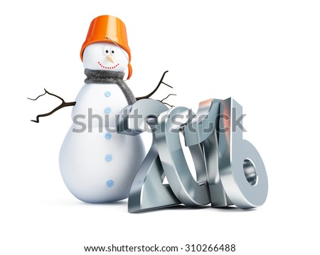 snowmen happy new year 2016. 3d Illustration on a white background - stock photo