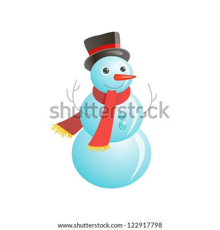 Snowmen on the white background - stock photo