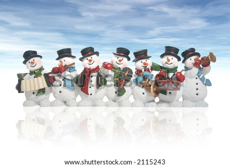 Snowmen playing music instruments isolated over white - stock photo
