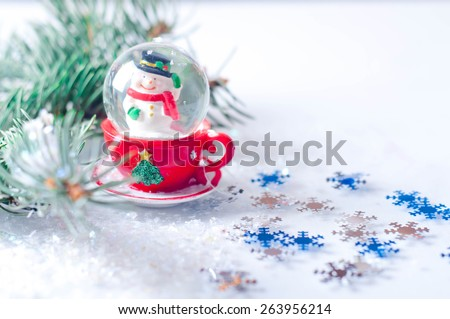 SNOWMEN SERIES - two smiling snowmen friends in the snow, no name toy - stock photo