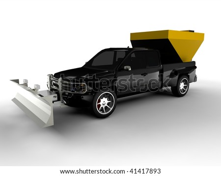 Snowplow on truck with salter isolated on white