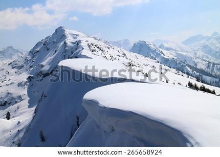 Snowshoe hike to Rippetegg peak, Austria - stock photo