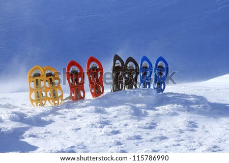 Snowshoes in the snow. - stock photo