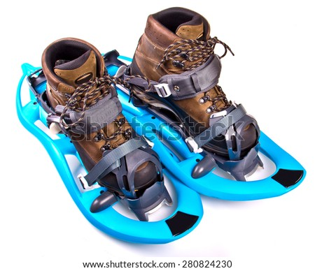Snowshoes on white background, isolated with shadows. - stock photo
