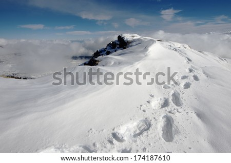 snowshoes traces on the Etna Park, Sicily  - stock photo