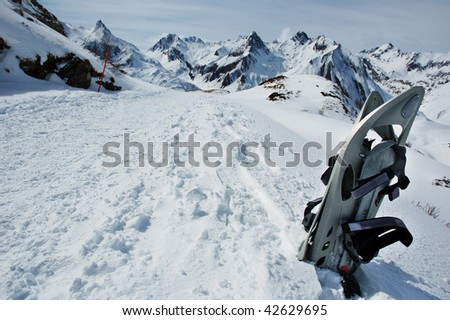 Snowshoes, Trentino, Alps, Italy. Winter