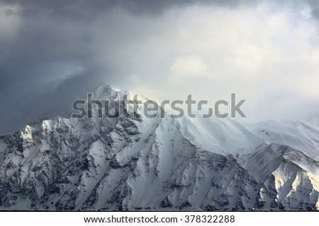 snowstorm in the mountains in winter