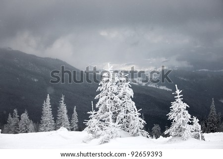 Snowstorm weather at mountains