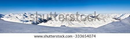 Snowy Alpine Mountains In Solden In Oetztal Alps; Tirol; Austria - stock photo