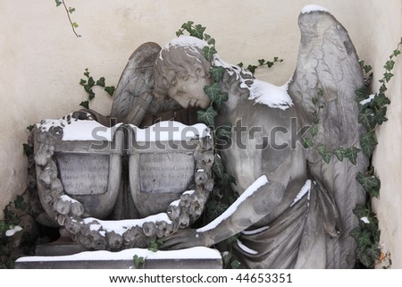 Snowy Angel on the old Prague Cemetery