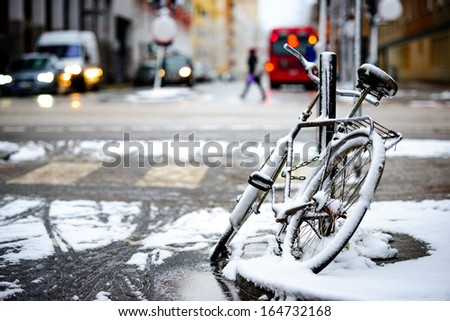 Snowy Bicycle - stock photo