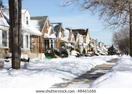 Snowy Chicago neighborhood - stock photo