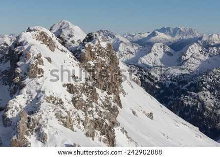 snowy german alps - stock photo