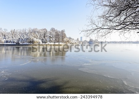 Snowy Herastrau Lake in Bucharest, Romania