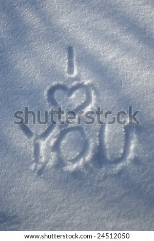 Snowy I love You - stock photo