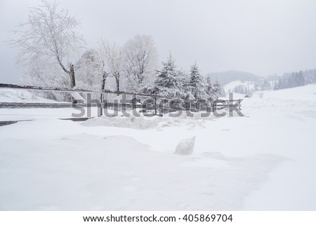 Snowy landscape with icy blocks in Grun, Beskydy - stock photo