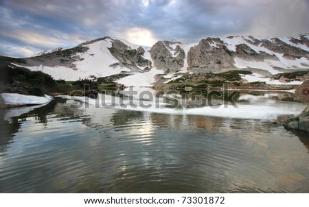 Snowy landscapes in the Medicine Bow Mountains of Wyoming - stock photo