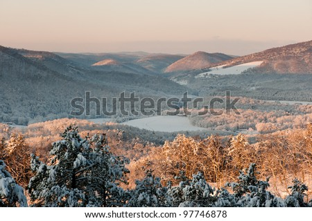 Snowy Morning in Ironto, VA - stock photo