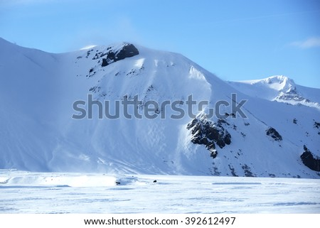 Snowy mountain landscape in Iceland, wintertime