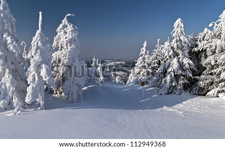 snowy mountain landscape with trees - stock photo