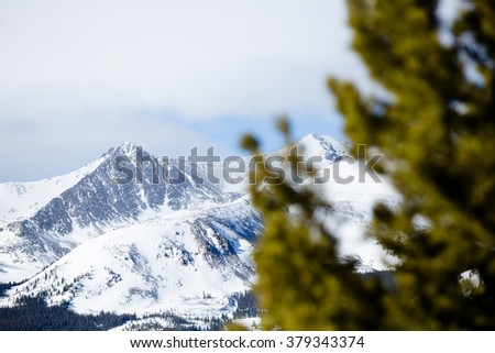 Snowy Mountain Peak - This is an image of a snowy mountain peak shot with an out of focus pine tree in the foreground. Shot with a shallow depth of field. - stock photo