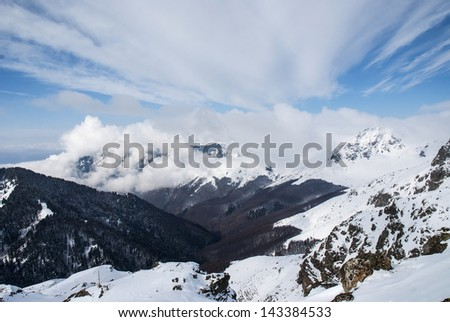 Snowy mountain slopes