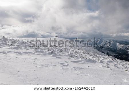 Snowy mountains - stock photo