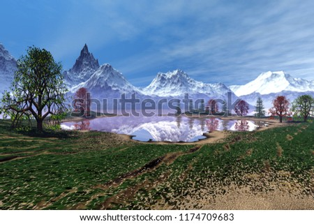 Snowy mountains, 3d rendering, an alpine landscape, beautiful trees, reflection on water and a blue sky.