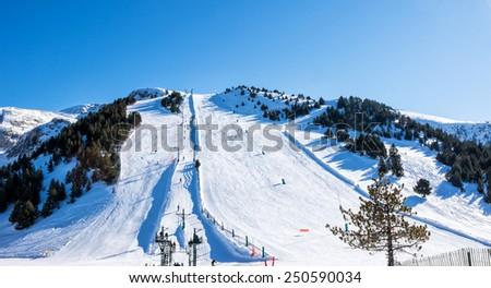 Snowy mountains in Spain (Masella),ski resort - stock photo