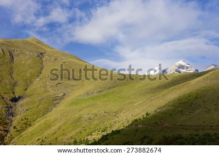 snowy mountains in the Ordesa National Park, Spain - stock photo