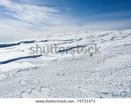 Snowy mountains in the pyrenees, Spain. Vall de la Vansa, sierra del Cadi - stock photo