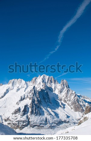 Snowy mountains in the Swiss Alps - stock photo