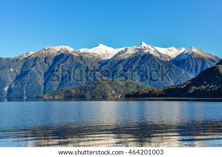 Snowy mountains near Lake Hauroko in the Southern Scenic Route, New Zealand
